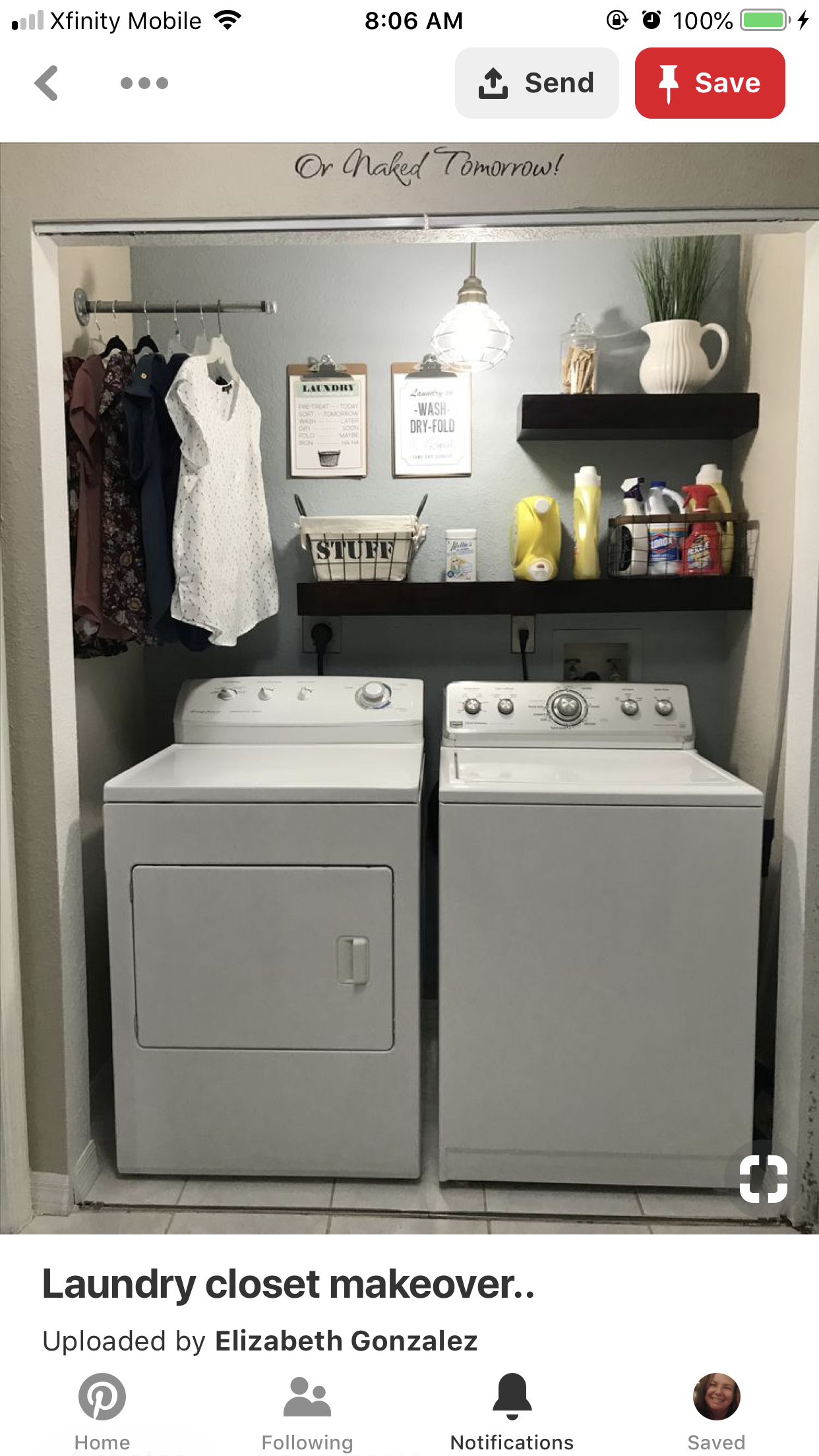 Add A Hanging Rod Inside The Closet Laundry Closet Makeover Laundry Room Diy Laundy Room