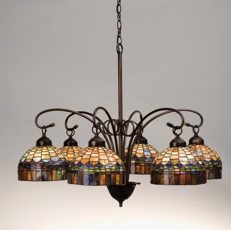 View The Meyda Tiffany 18693 Stained Glass  Tiffany 6 Light Down Interesting Stained Glass Light Fixtures Dining Room Inspiration Design