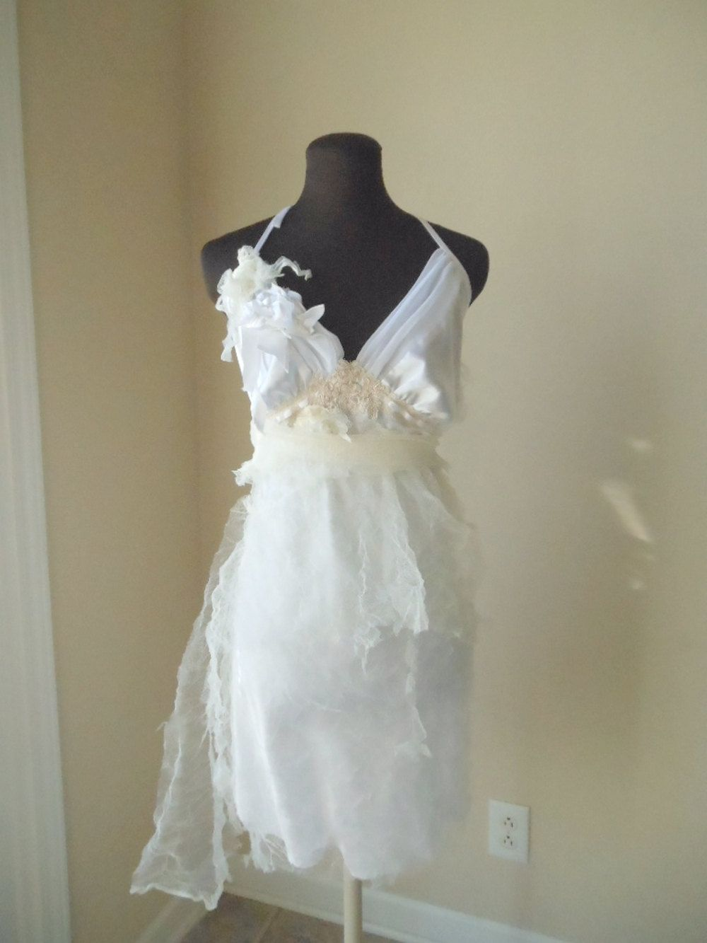 Ethereal Fairy Wedding Dress Satin Tulle Lace Short Pixie Wispy ...