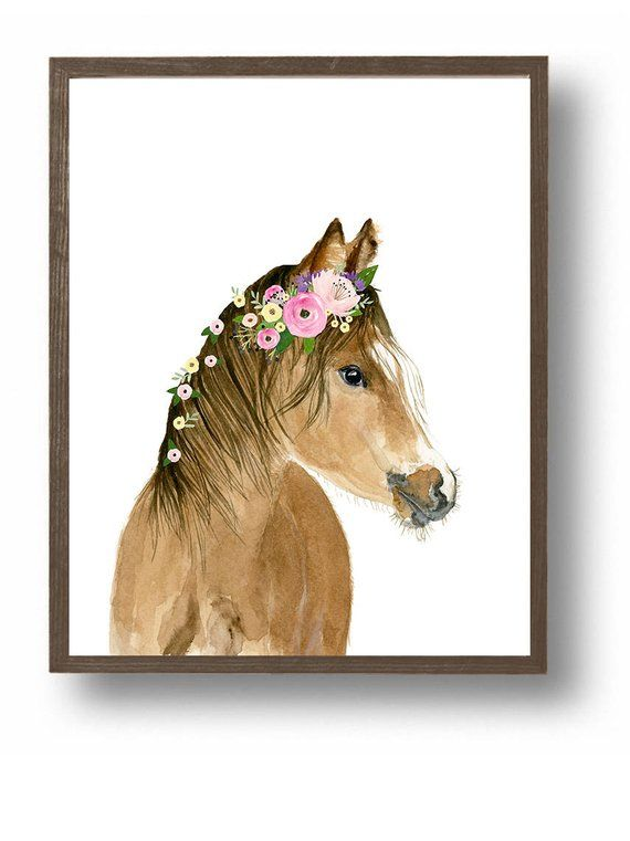 Horse Foal Nursery Art Print  Farm Animal Nursery Decor Kids | Etsy