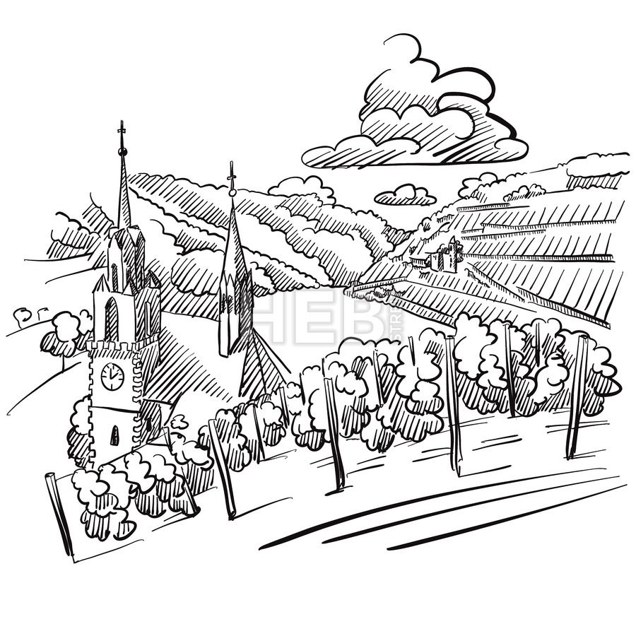 German Vineyard Sketch With Church River And Hills Map Sketch