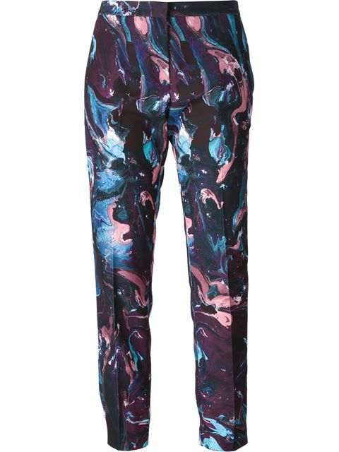 Msgm Marbled Paint Print Trousers - Stefania Mode -