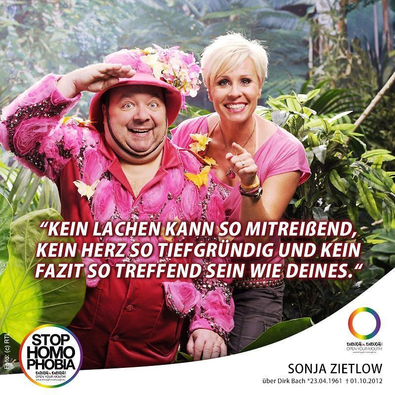 #Gedenken an Dirk Bach   An der Seite von @onjazietlow sorgte Dirk Bach (51) zu Lebzeiten stets für witzige Sprüche in RTLs Ich bin ein Star - Holt mich hier raus! Acht Jahre begeisterte der Comedian als Moderator die Fans der Show. Im Jahr 2012 dann die schockierende Nachricht: Im Alter von nur 51 Jahren ist der Schauspieler und Synchronsprecher verstorben. Heute hätte Dirk Bach seinen 56. Geburtstag gefeiert. #EnoughisEnough #StopHomophobia #LGBTI #Community #Gesellschaft #IBES…