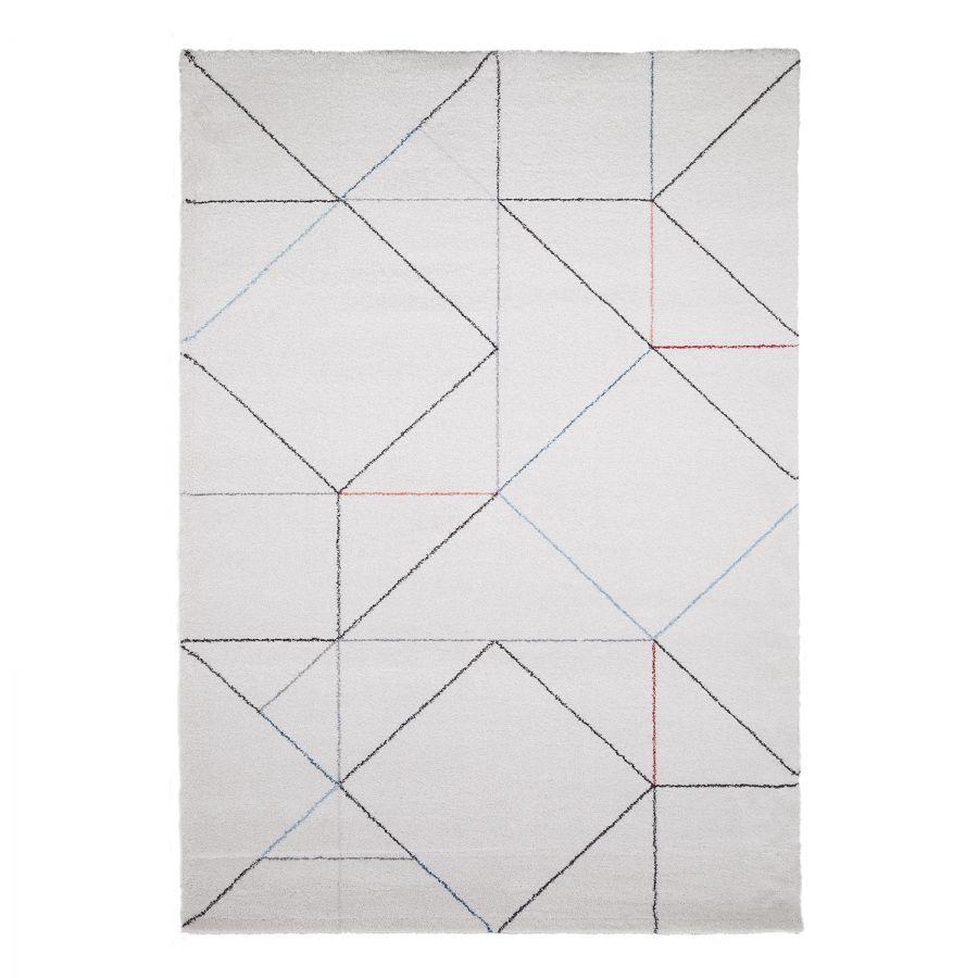 Hochflorteppich Beau Cosy - Mischgewebe - Weiß / Grau - 140 x 200 cm