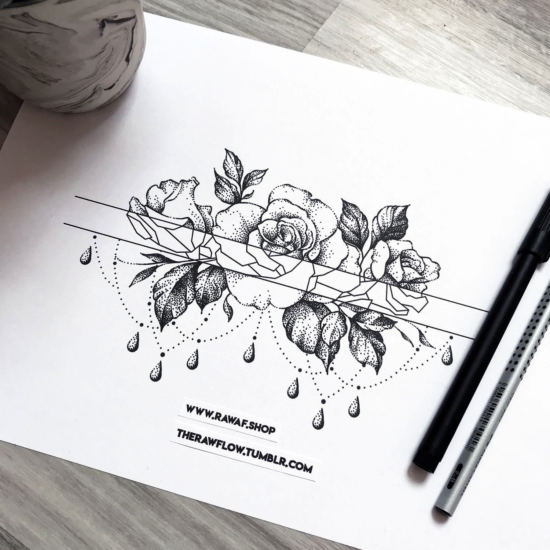 rose flower band tartoo for arm or thigh  download or request a fully c  Dotwork rose flower band tartoo for arm or thigh  download or request a fully custom design www D...