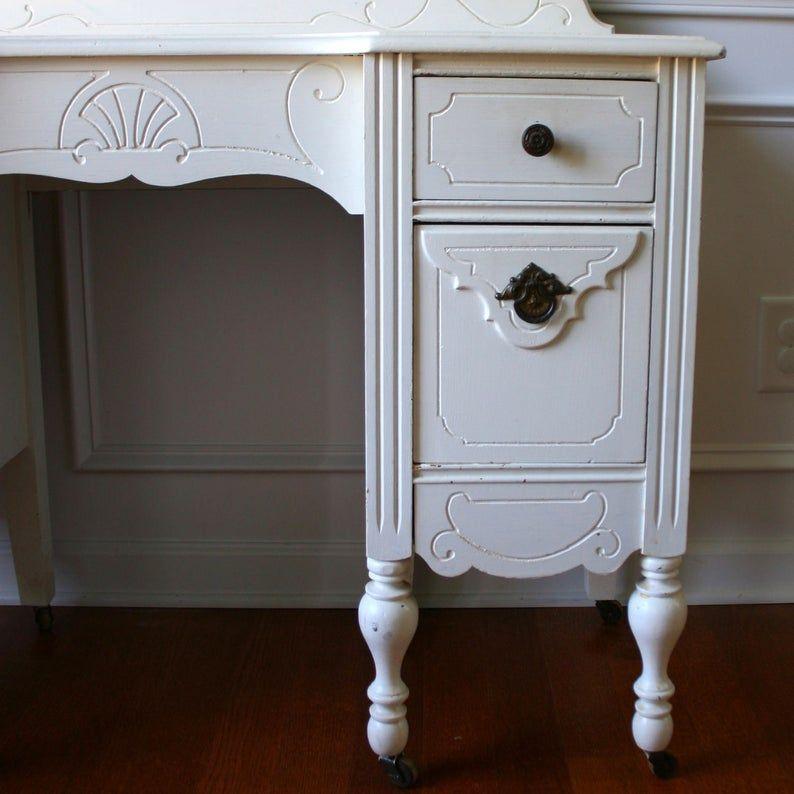 vintage white dresser with mirror
