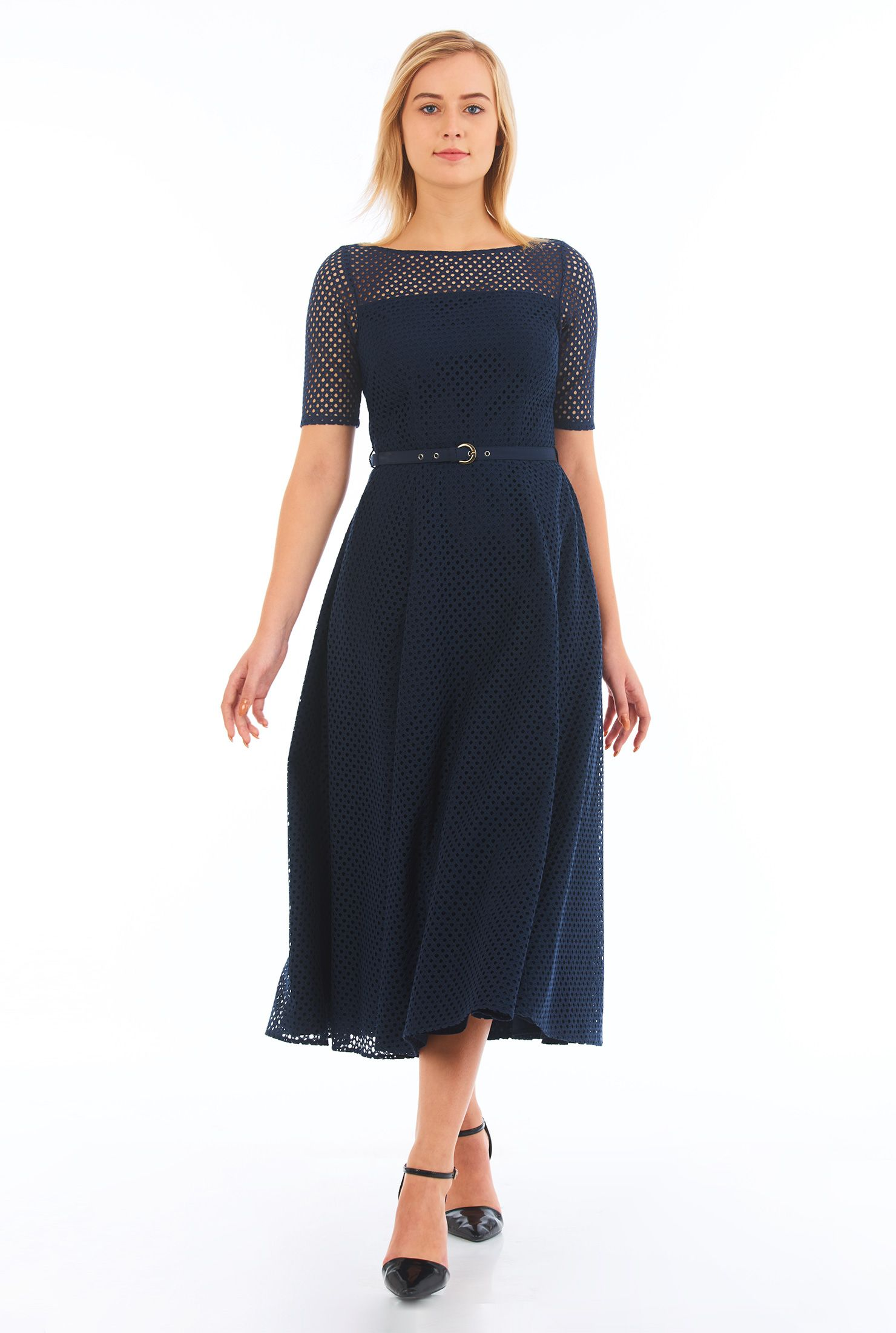 396598790d27 Our diamond eyelet fit-and-flare dress features a sheer front yoke and  sleeves while a full skirt flares from the figure-defining seamed and  belted waist ...