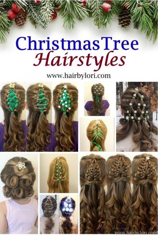 Braided Christmas Ribbon Tree Hair Video Tutorial Hair Styles Christmas Tree Hair Christmas Hairstyles