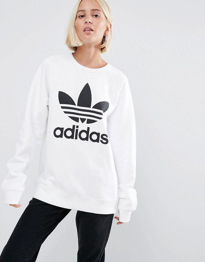 70eade10 Adidas adidas Originals Oversized Sweatshirt With Trefoil Logo ...