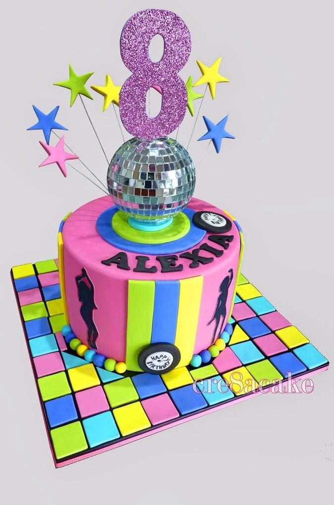 Fine Disco Birthday Cake With Images Dance Party Birthday Disco Funny Birthday Cards Online Hendilapandamsfinfo