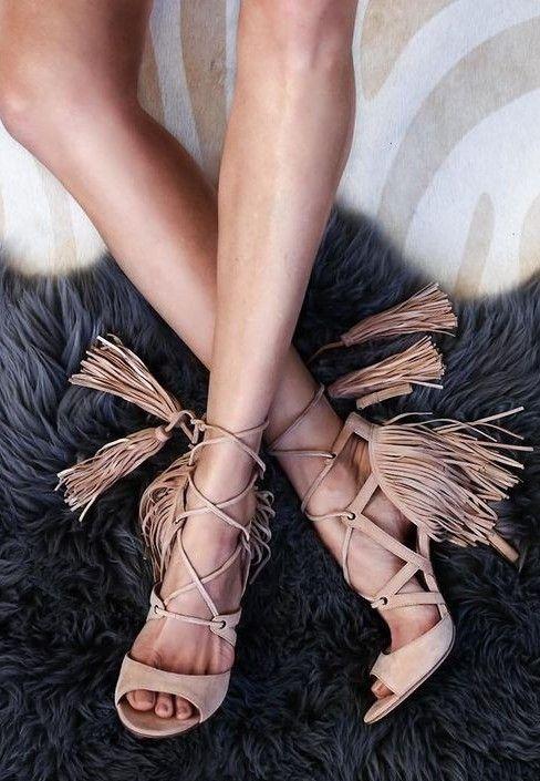 Nude Fringe Sandals                                                                             Source
