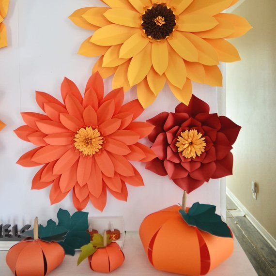 Fall Paper Flowers Set/ 6 Paper Flowers/ Fall Banner Set/ Paper Flower Backdrop/ Fall Home Decor/ Paper flowers/ Thanksgivings Decor/ FS10 #constructionpaperflowers