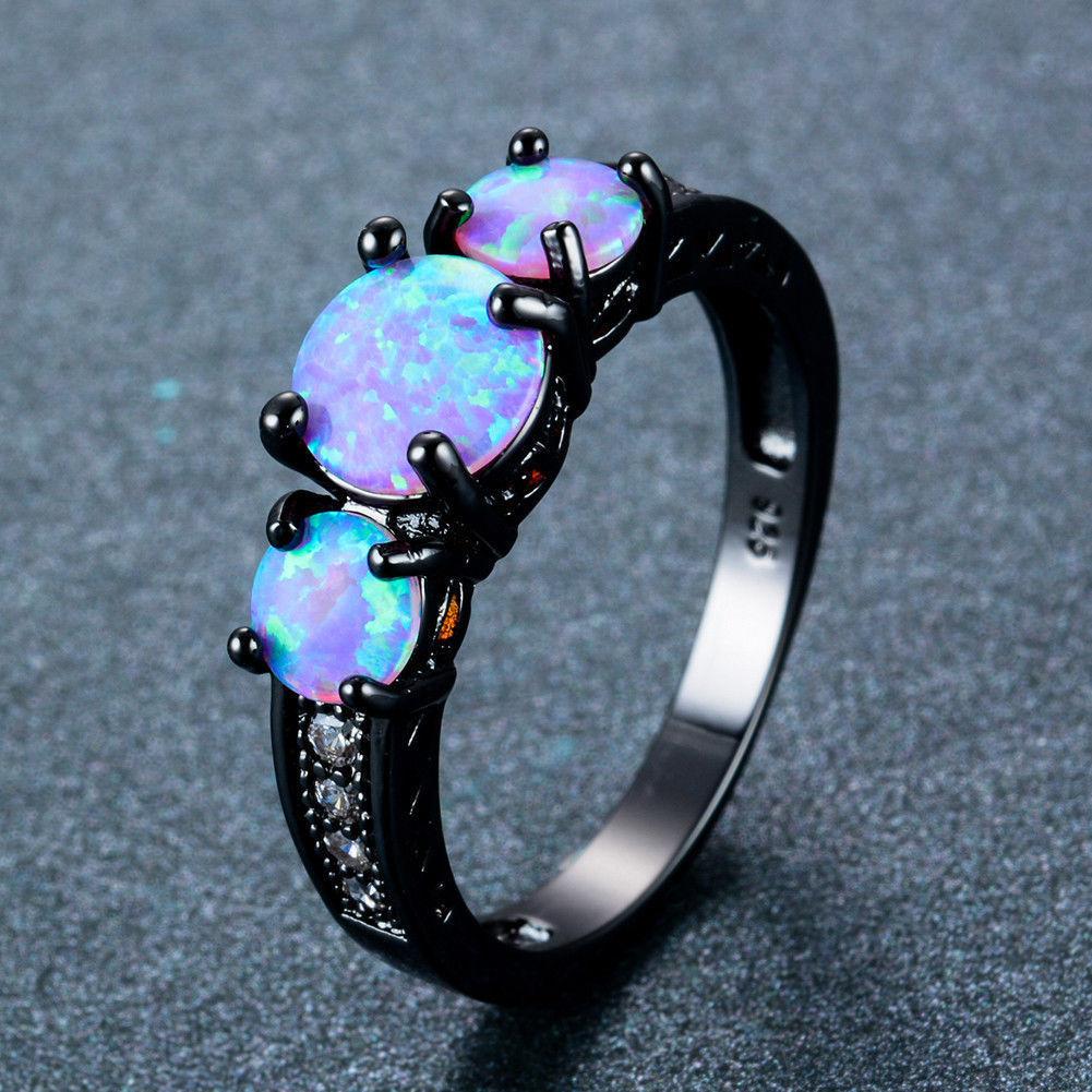 8.99AUD Three Stone Purple Fire Opal Ring Black Gold