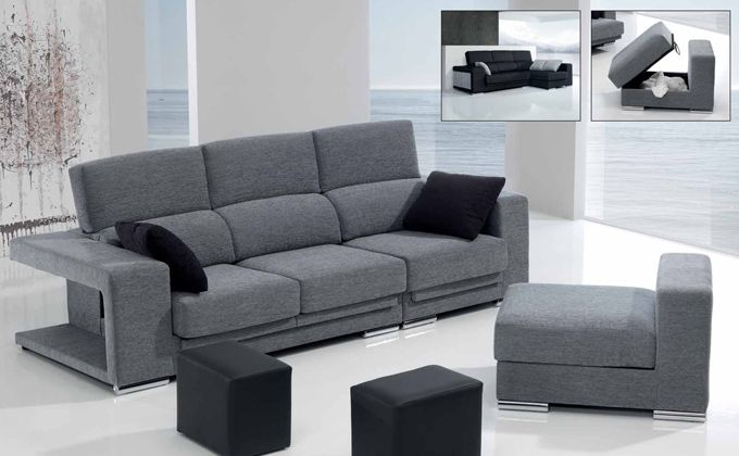 Sofá chaise longue tapizado, comprar sofá arcón modular y 2 pouffs ...
