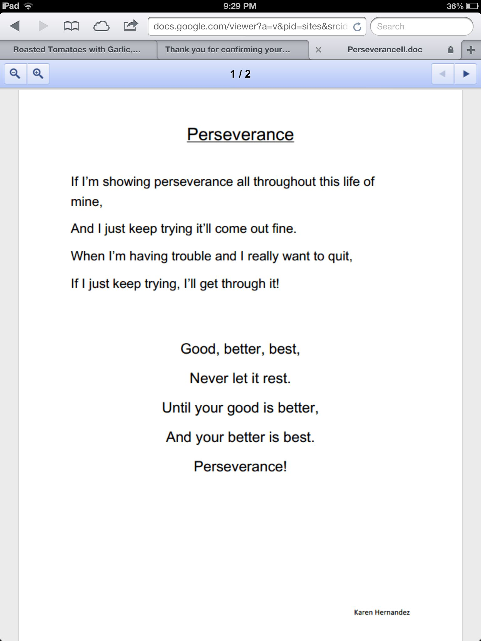 Perseverance Chant