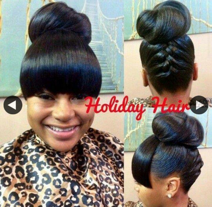Bun and bang pinteres bun and bang more black hair updo hairstylesblack girls hairstylesponytail pmusecretfo Images