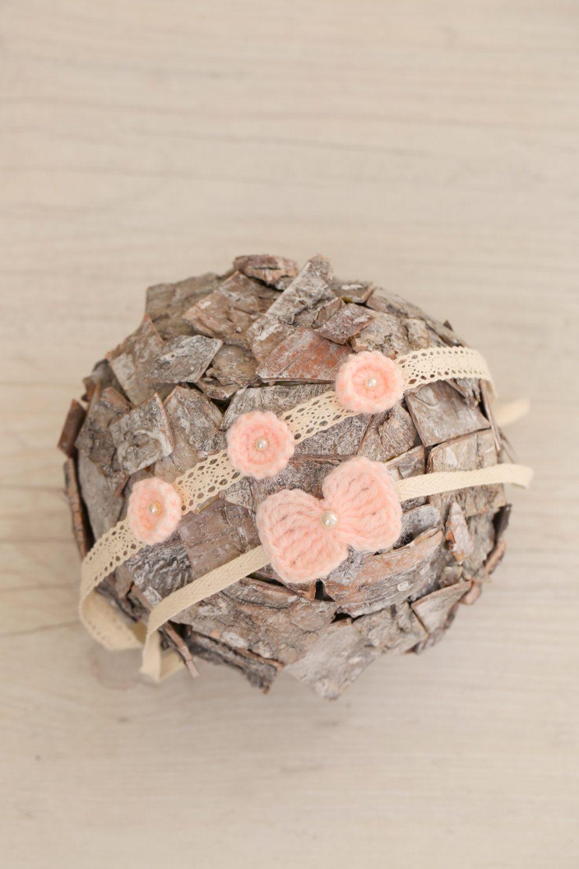 SET 2 Peach Pink Matching Newborn Angora and Cotton Lace Ribbon Tiebacks / Crochet Bow & Flowers Headbands / Angora and Cotton Tieback Set by SoftButterflyKiss on Etsy