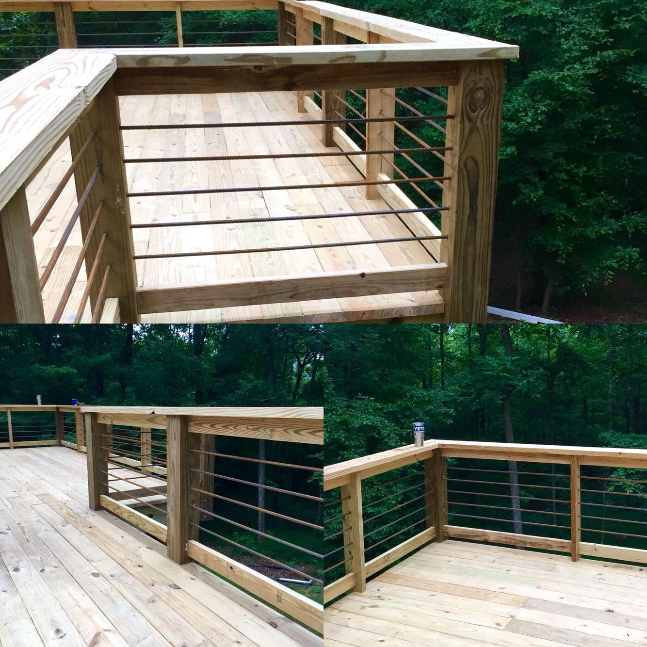 Rebar handrail on deck