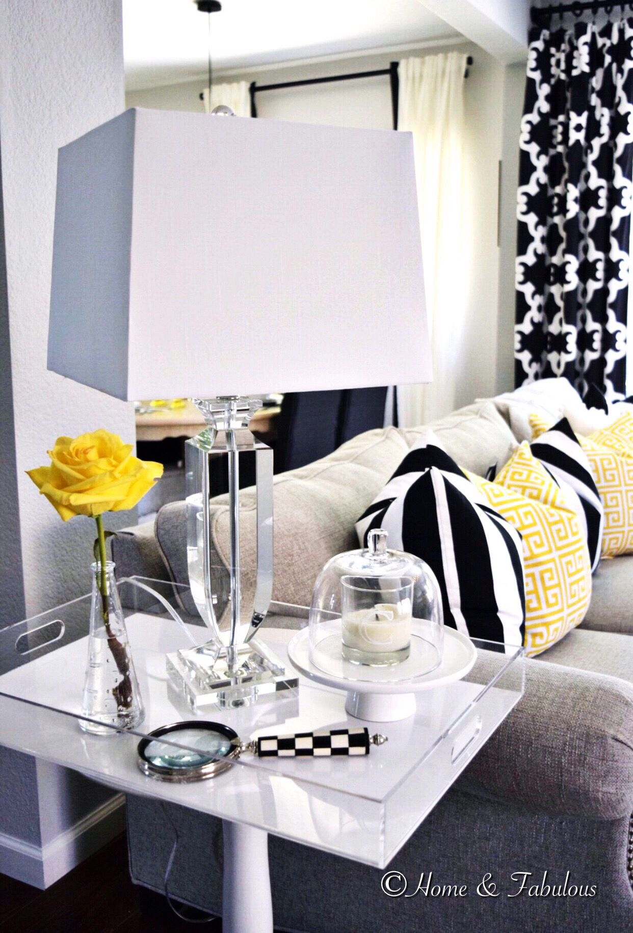 Give your side table a modern twist by adding an acrylic tray on top and crystal lamp like this one from homegoods sponsored pin