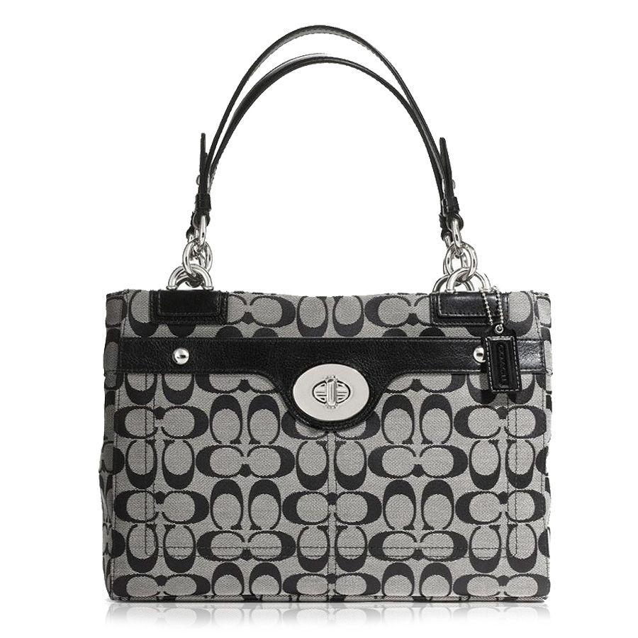 Coach Black / White Handbag Penelope Signature Carryall ...
