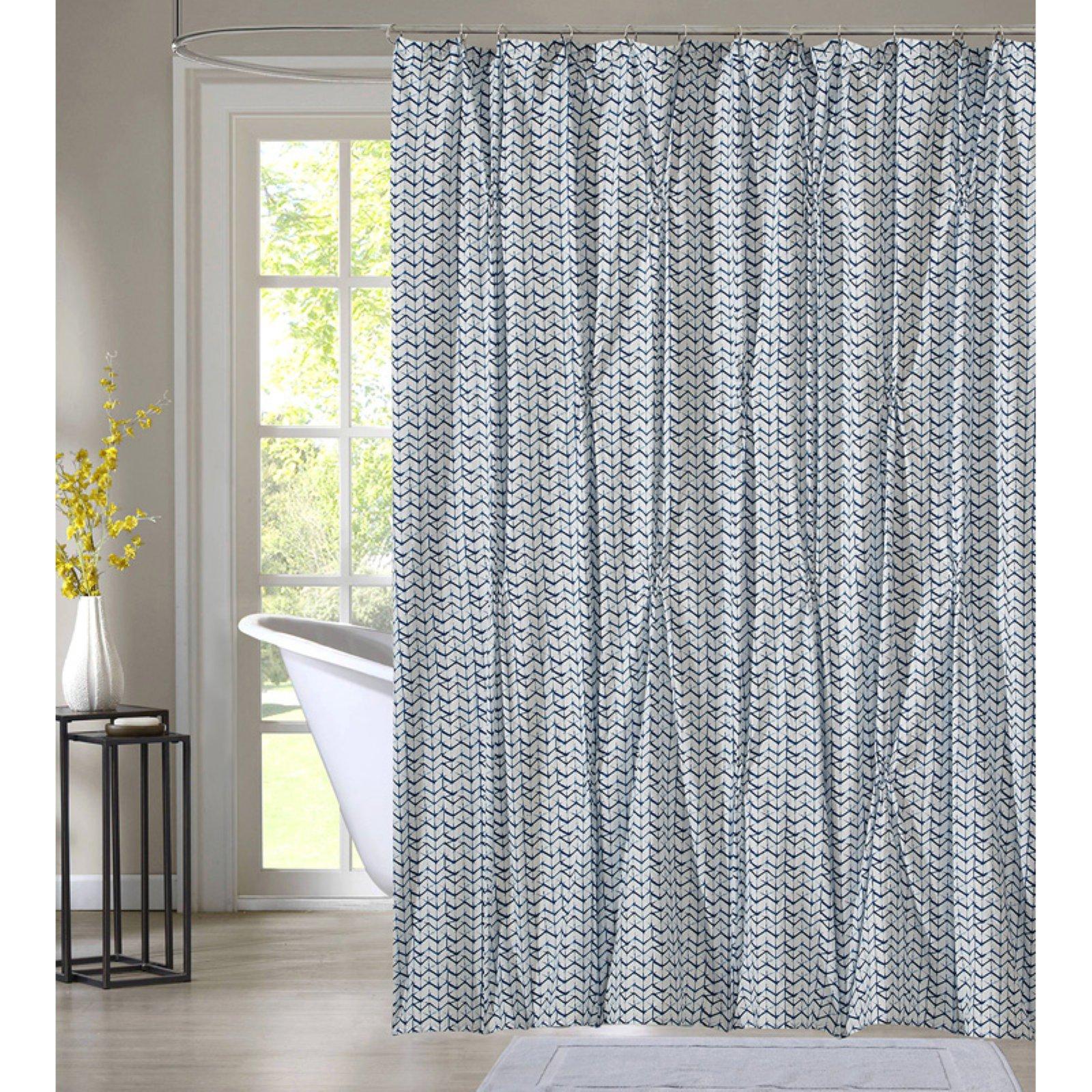 Style Quarters Blue Batik Shower Curtain White Shower Curtain