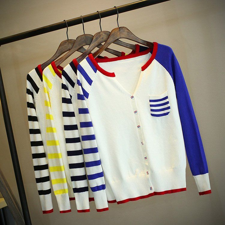 """Sweet students striped bag knitted cardigan   Coupon code """"cutekawaii"""" for 10% off"""