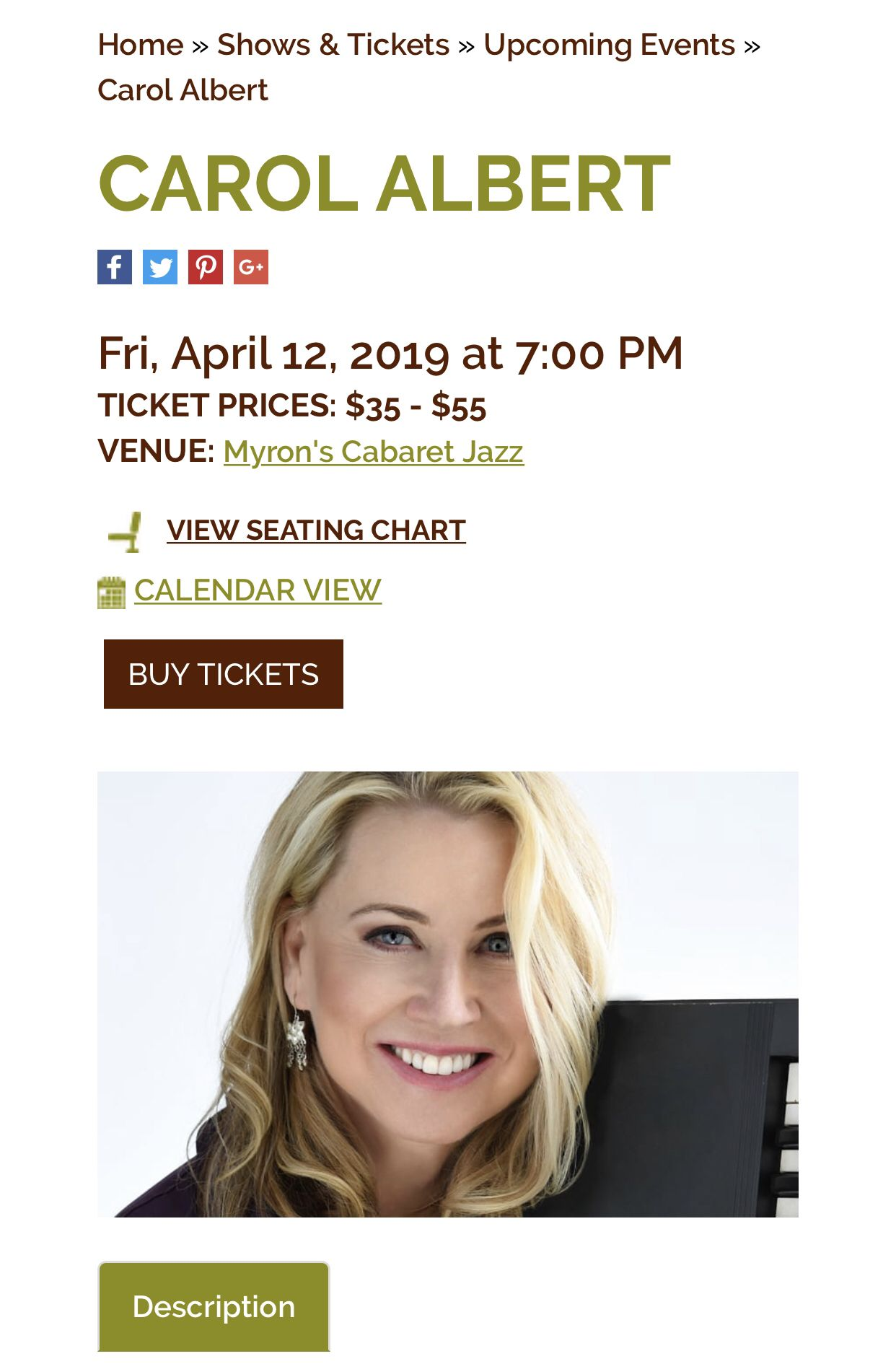 Book your tickets now for the Show on April 12 at Myron's