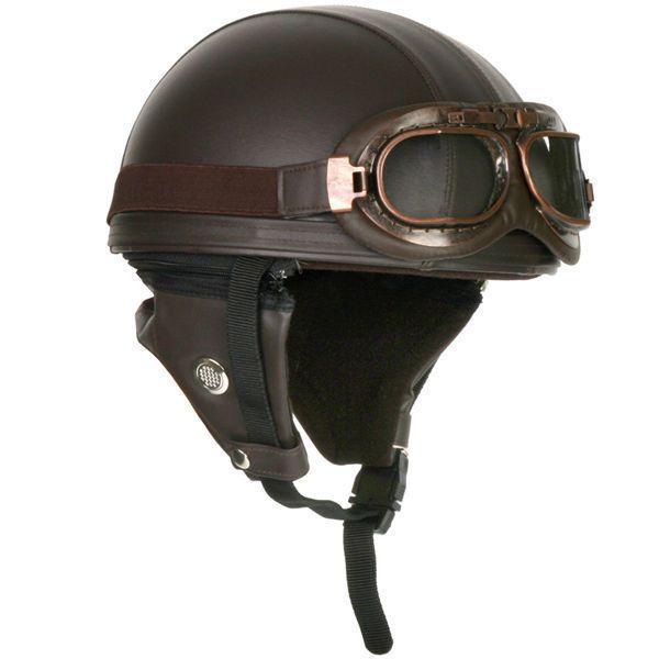 Vintage Motorcycle Helmets With Goggles Half Retro Helmet Brown Motorcycle Helmets Vintage Motorcycle Helmets Half Retro Helmet