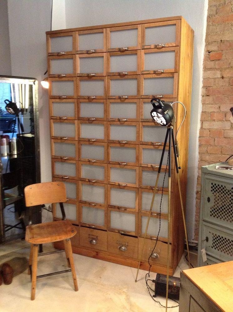 1 900 industriedesign loft schubladen apotheker schrank. Black Bedroom Furniture Sets. Home Design Ideas