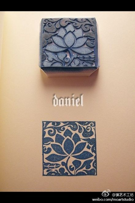 More stamping***diff. square 3x3 4x4 lino stamps mount on wood and