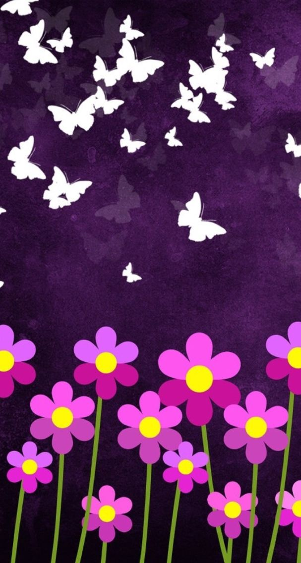Cute Pink Flowers And Butterflys Wallpapers For Iphone