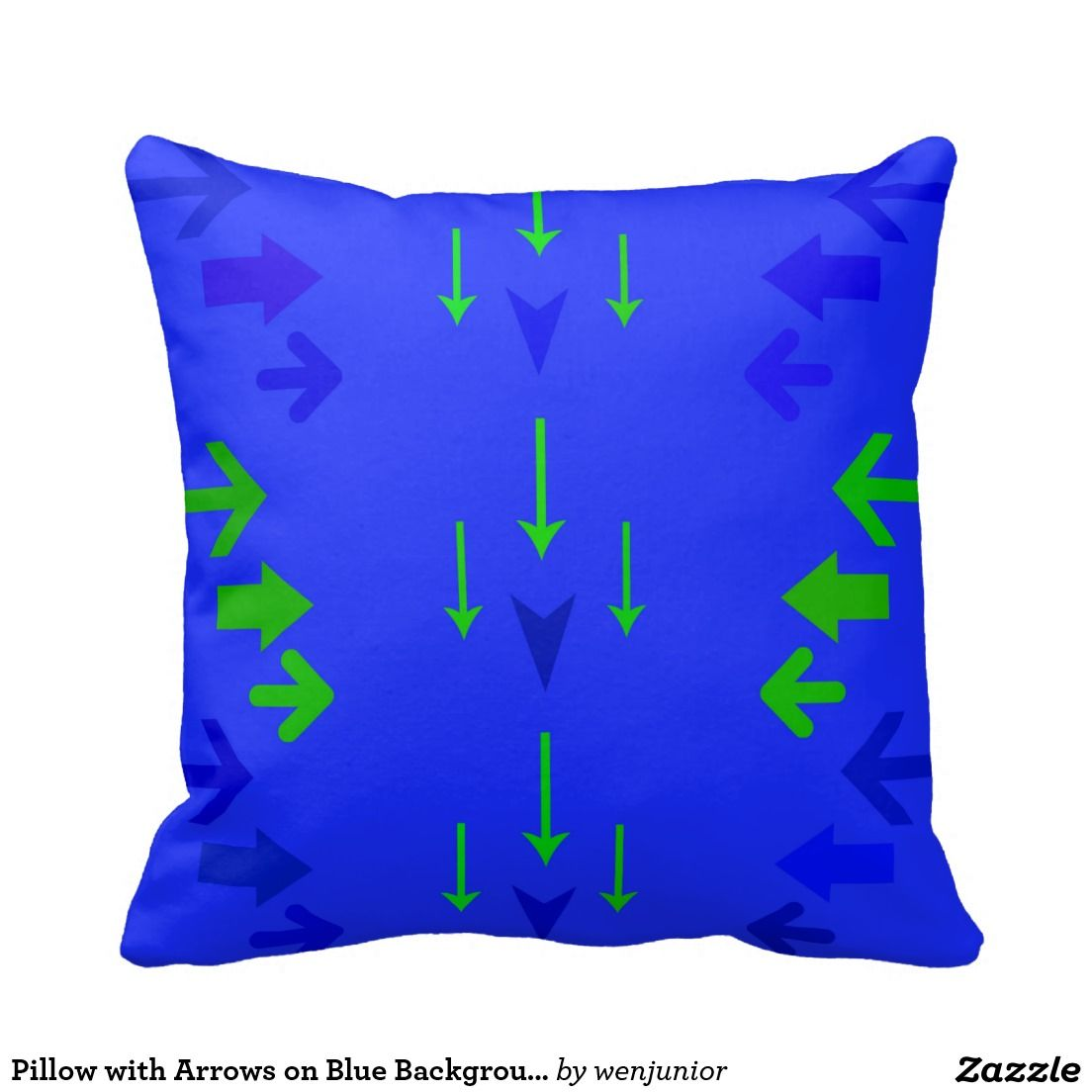 Pillow with Arrows on Blue Background