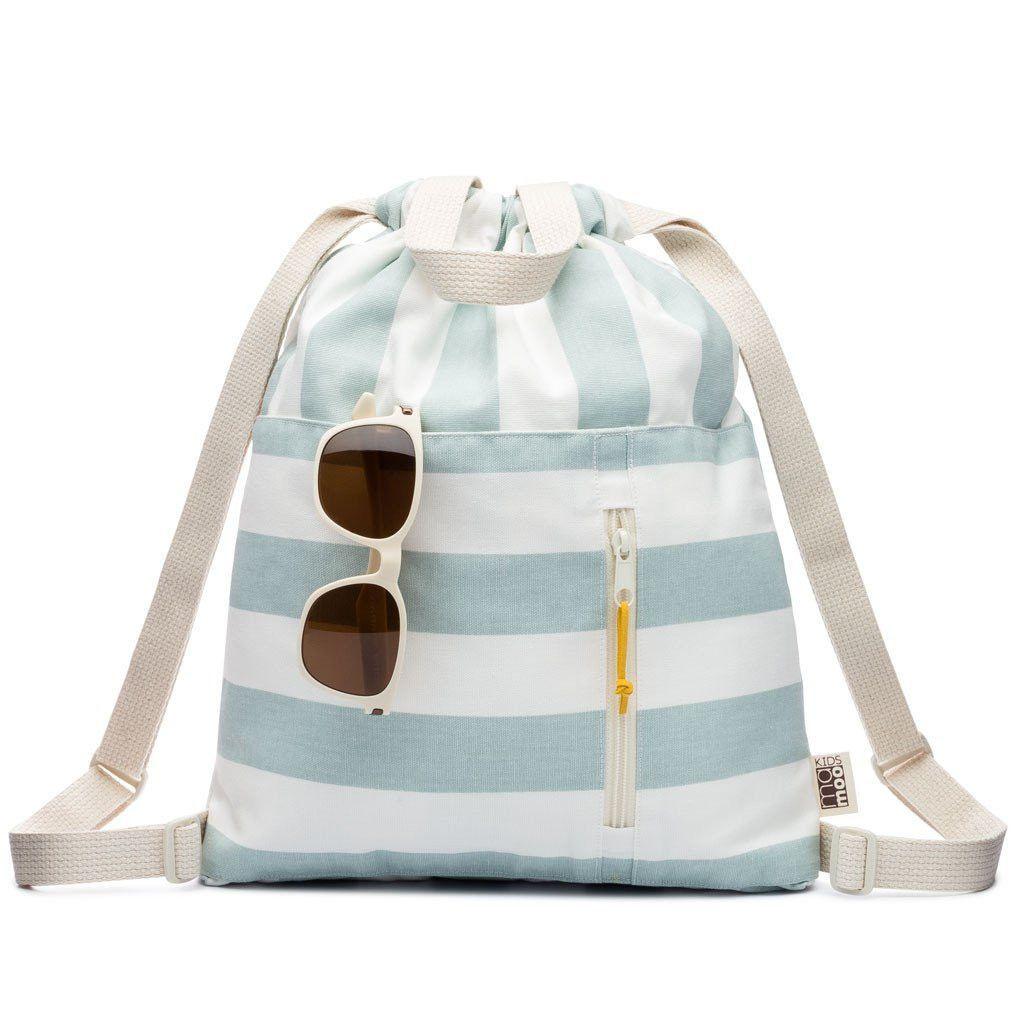 Mamoo Railroad Stripe Denim Drawstring Backpack ESZfbdUa