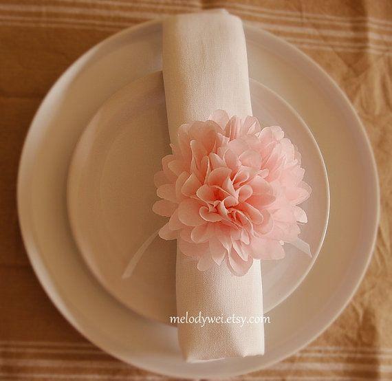 16 Napkin Rings With Satin Ribbon Napkin Holders Tissue Paper