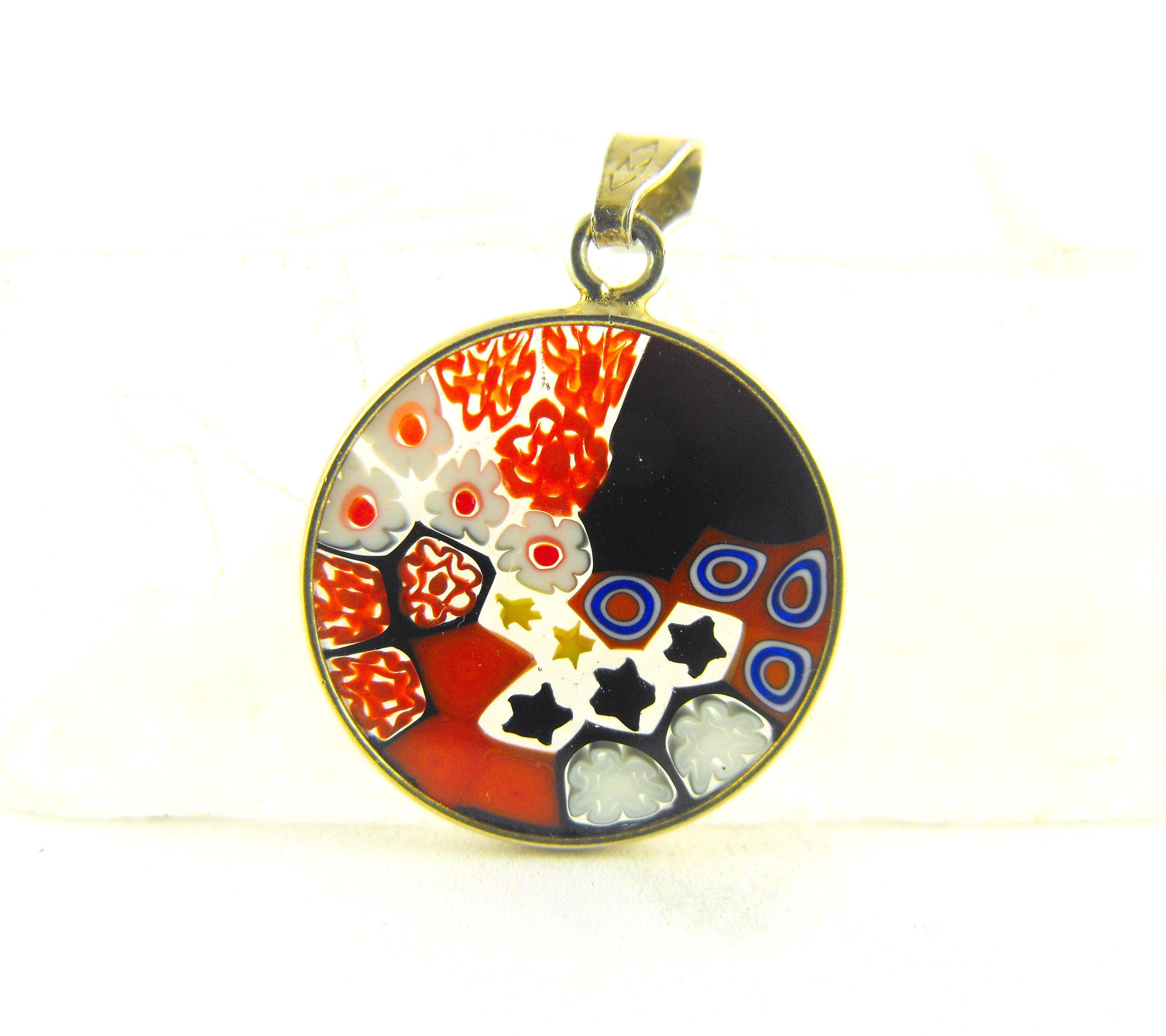 Authentic murano glass pendant sterling vermeil bezel set glass in