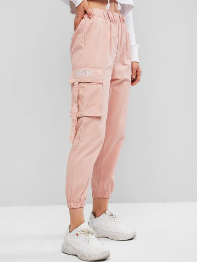Pantalones Jogger De Cintura Alta Con Bordado De Bolsillo Pink Pantalones Con Bolsillos Ropa Pantalones De Moda