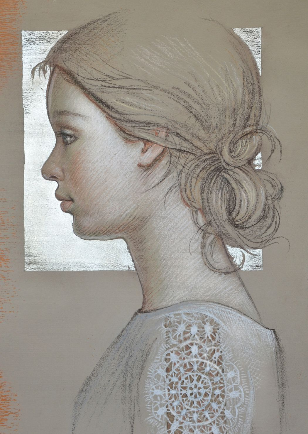 Drawing On Toned Paper White Gold Leaf