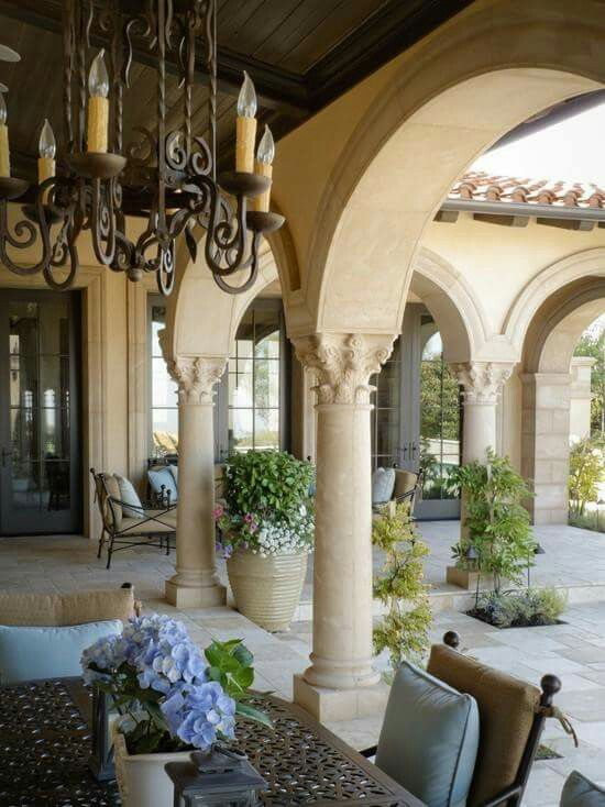 mediterranean home veranda outdoor chandelier tuscan dream home european manor chateau. Black Bedroom Furniture Sets. Home Design Ideas