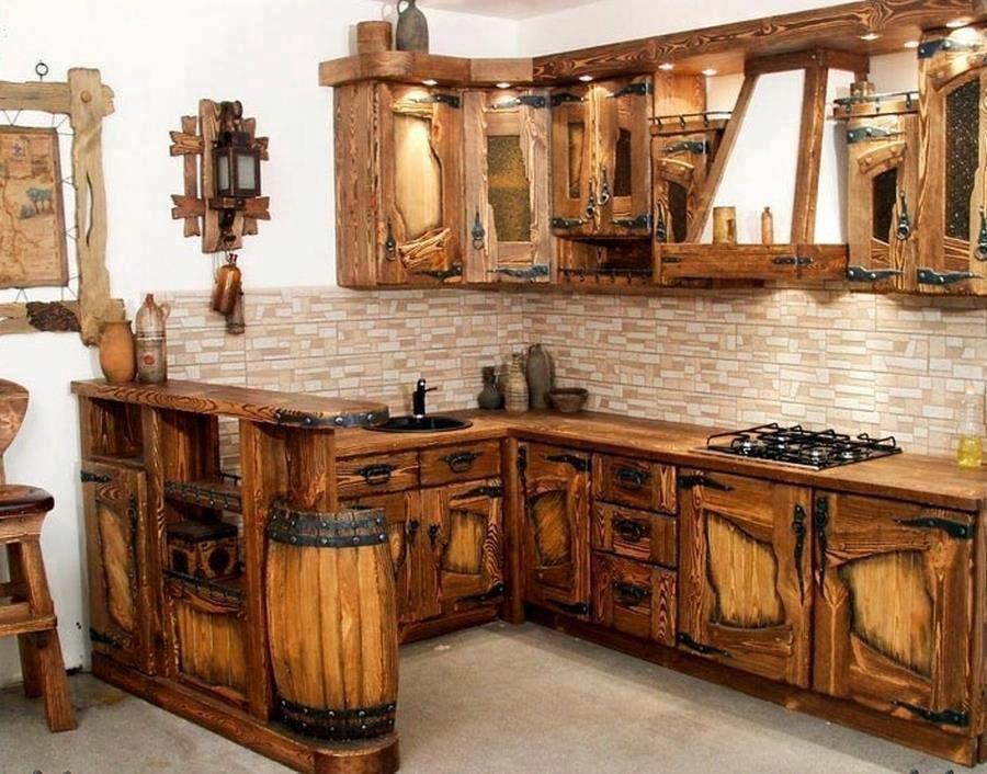 cocina con madera reciclada | Идеи для дома | Gabinetes de ...