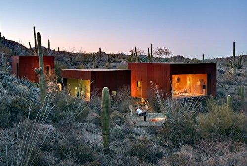 A Miniature Desert Compound Among Cacti And Tumbleweed Desert Homes Desert Nomad Architecture