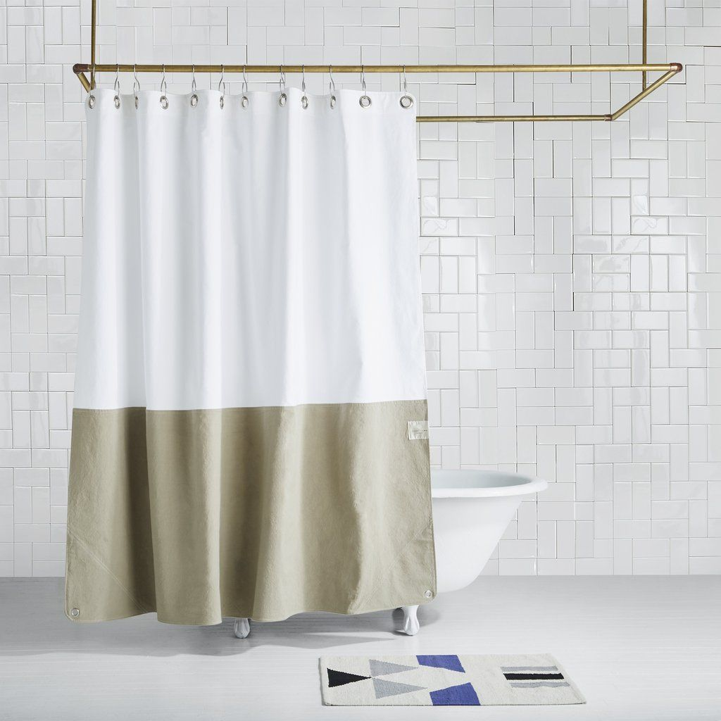 Orient Desert Color Blocked Canvas Shower Curtain In 2020