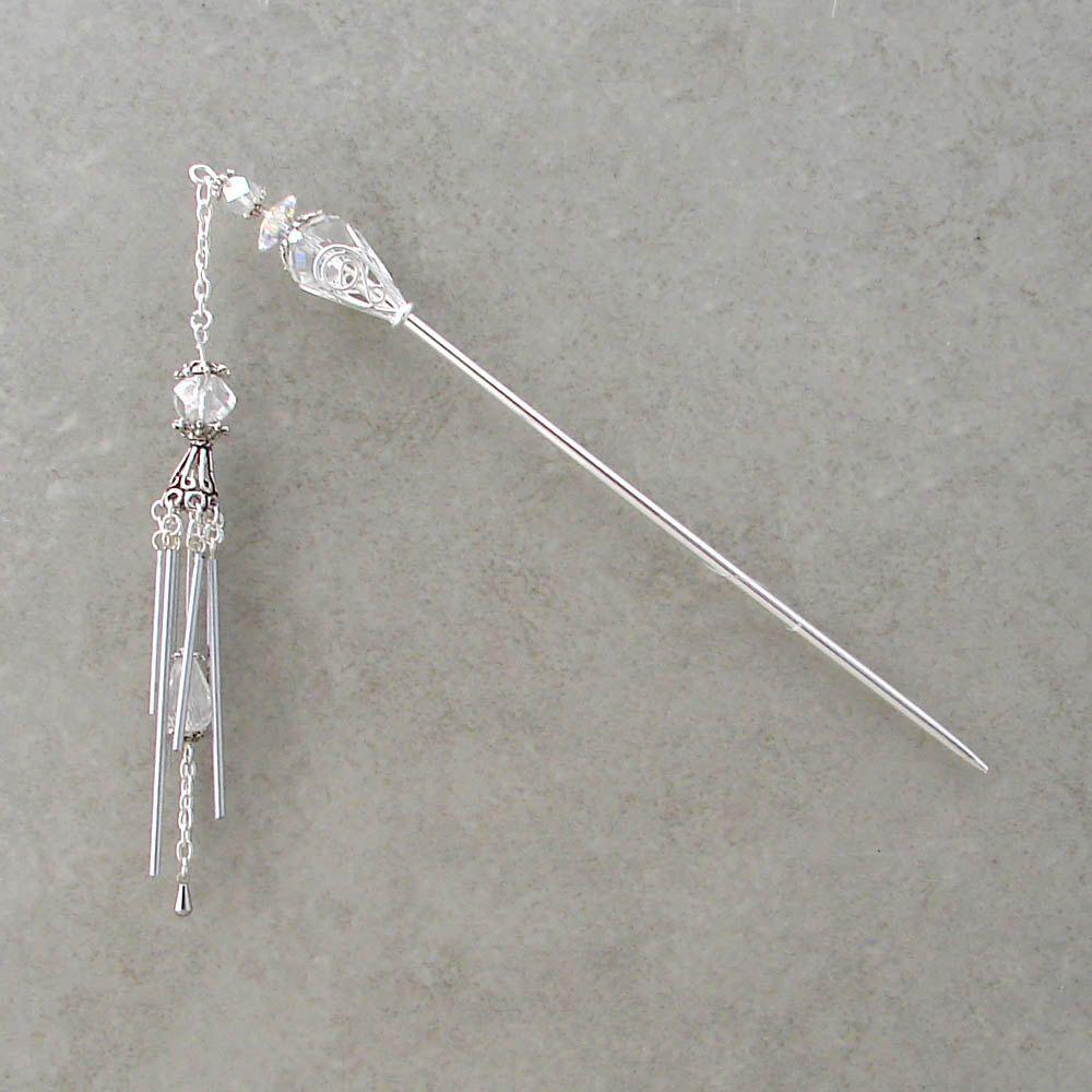 Miniature crystal ornaments - Hair Stick Miniature Crystal Wind Chime Geisha Kanzashi Dangle Hair Sticks Crystal Clear Hairstick Hair Chopsticks Unique Haarstab Chrissy
