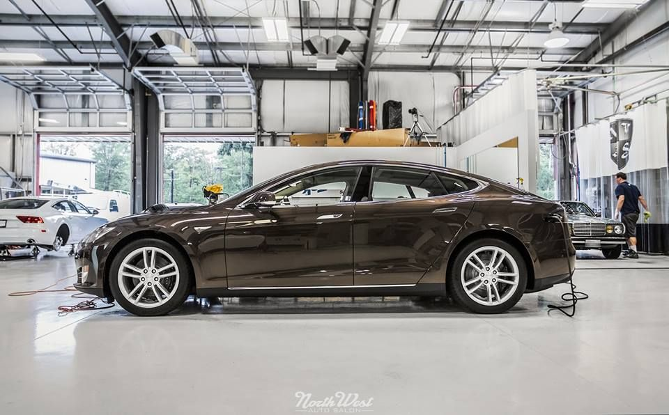 Brown Tesla Automotive detailing, Tesla motors model s