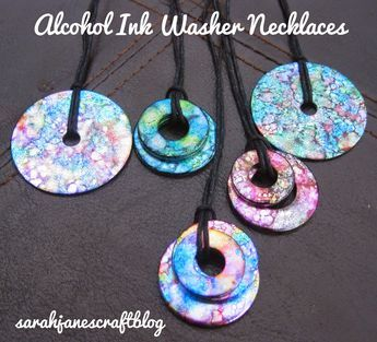Crafting Revisit: Alcohol Ink Washer Necklaces #alcoholinkcrafts