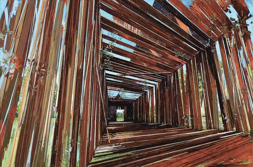 David Schnell. Bretter (Planks). 2005. Sense of structure, but a structure that is coming apart and a bright landscape beyond the cracks. A little more straightforward and less interesting because it is easier to figure out what it happening.