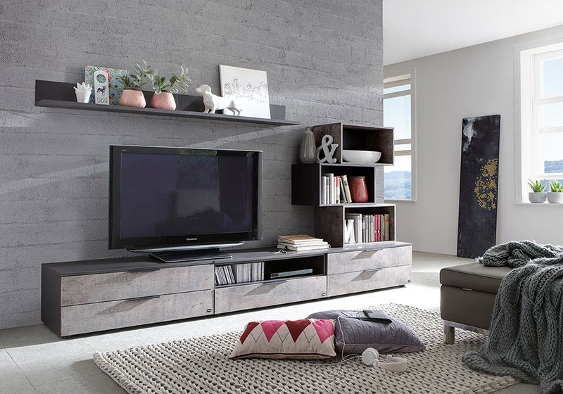 banc tv anthracite et effet b ton contemporain cayetano. Black Bedroom Furniture Sets. Home Design Ideas