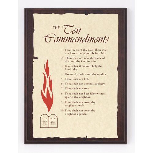 Ten Commandments Parchment Plaque Plaque Ten Commandments Parchment