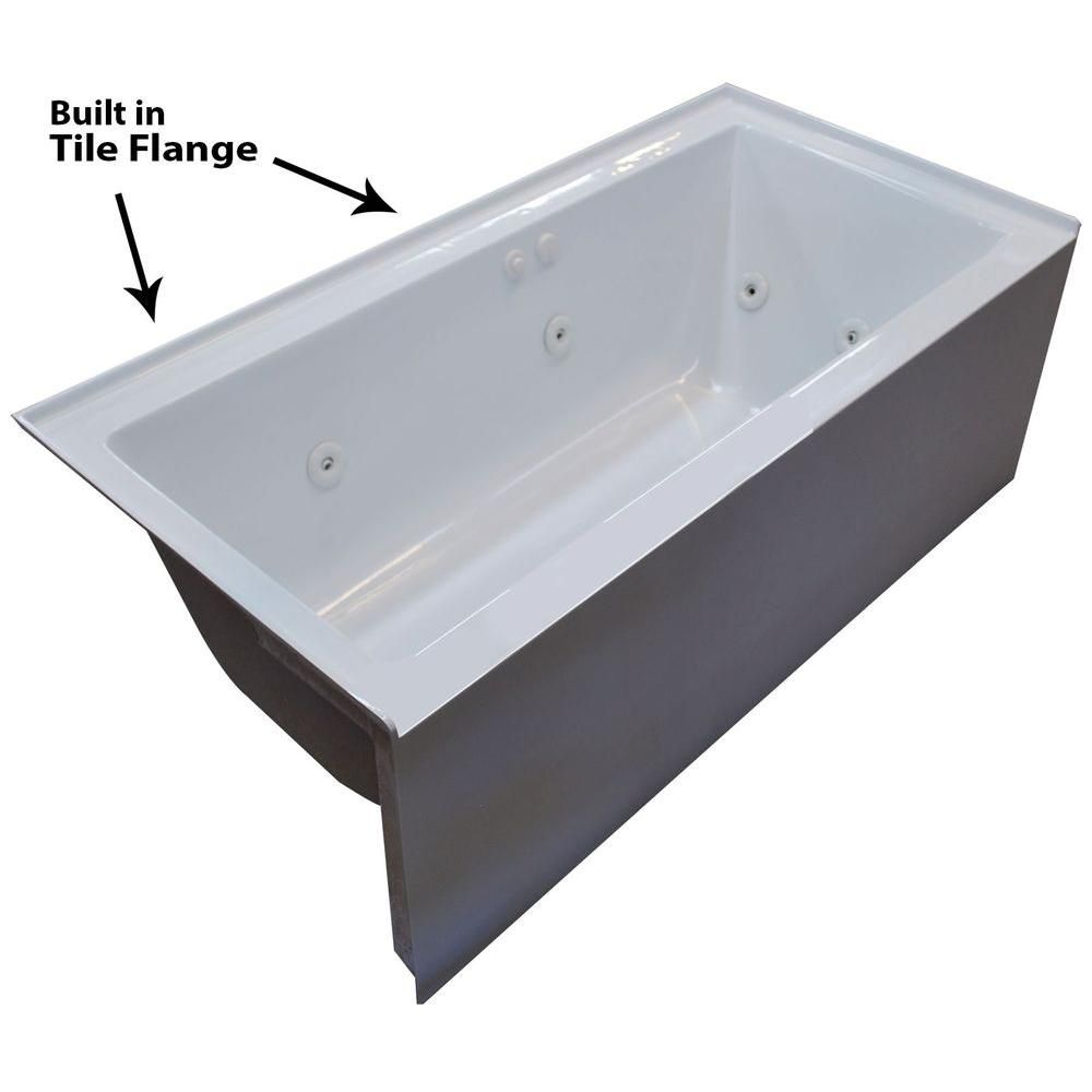 Universal Tubs Amber 5 Ft Acrylic Rectangular Drop In Whirlpool Bathtub In White Hd3060shwl The Home Depot Whirlpool Bathtub Bathtub Whirlpool Tub
