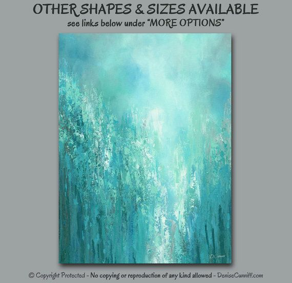 turquoise office decor. Contemporary Abstract Canvas Print Set, 3 Piece Multi Panel, Oversized Wall Art Triptych, Aqua Gray Teal Turquoise Blue Green, Office Decor