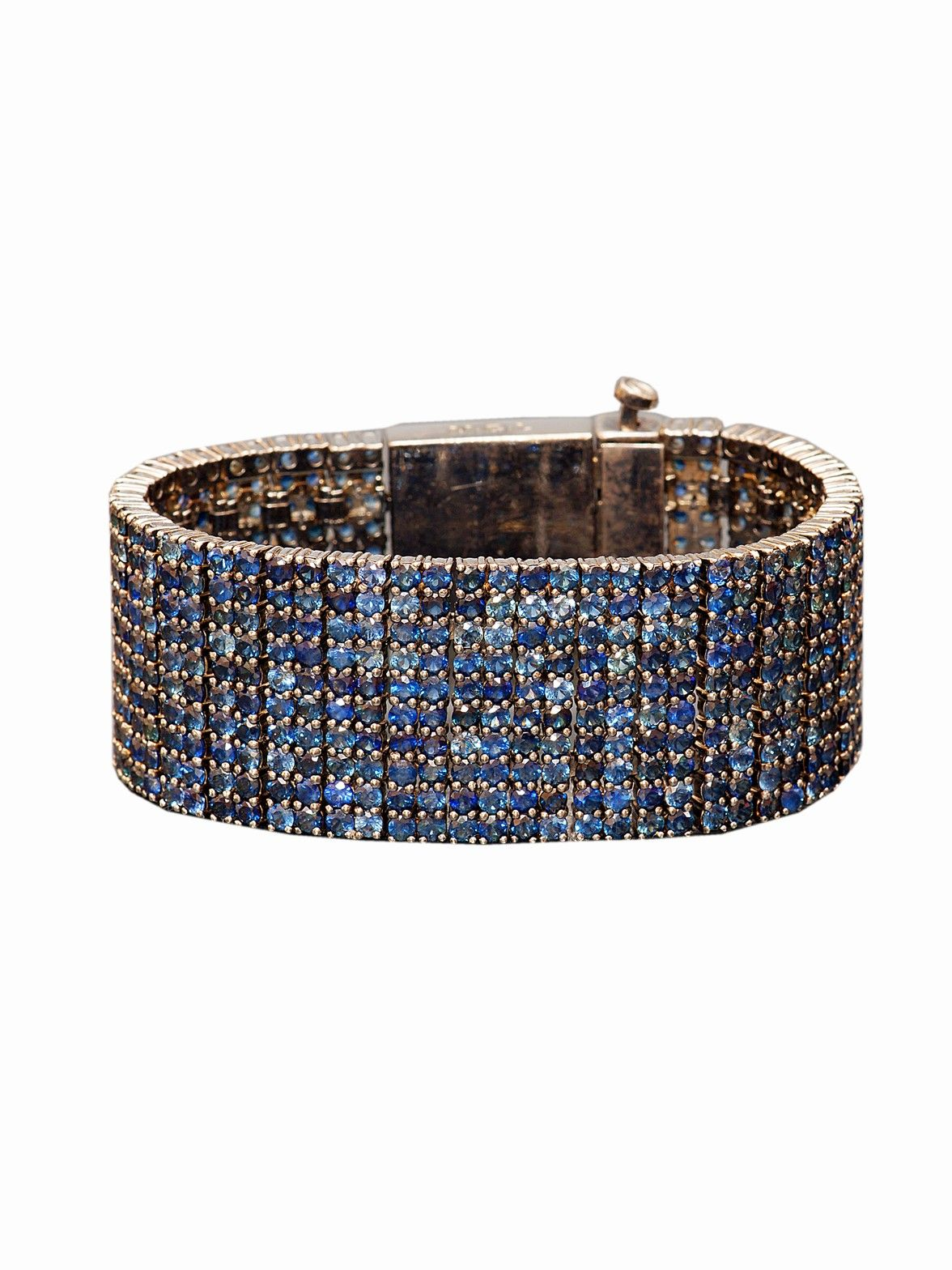 Mcl design sterling silver pave blue sapphire and blu gems